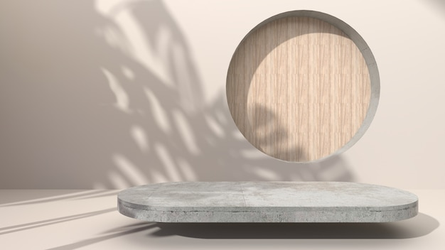 Эллиптический геометрический бетон на кремовом абстрактном фоне просверлить отверстие, поставив круглые деревянные. для презентации косметической продукции. 3d рендеринг