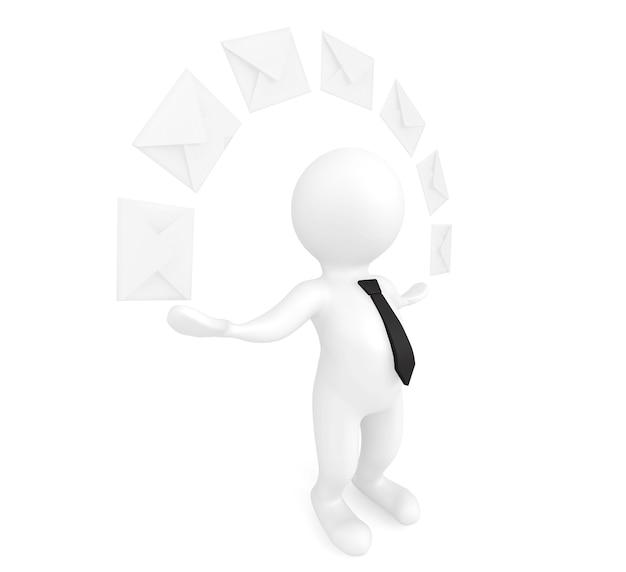 メールのコンセプト。白い背景の上の封筒を持つ3d人