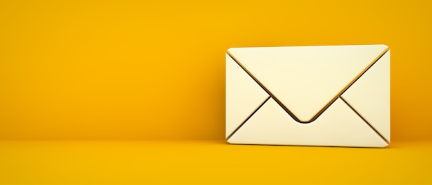 Email contact icon on yellow background 3d rendering