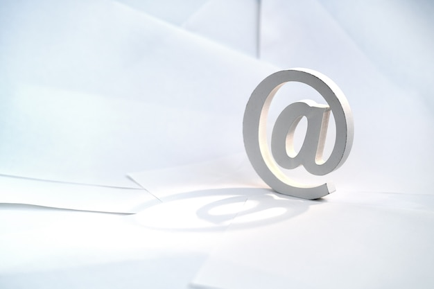 Email symbol on white envelope background. concept for email, communication or contact us