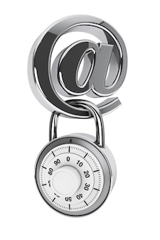 白い背景の上の南京錠と電子メールのシンボル