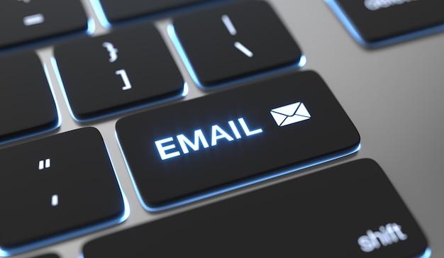 Текст электронной почты на кнопке клавиатуры