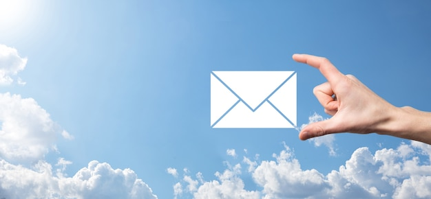 Email and user icon,sign,symbol marketing or newsletter concept, diagram.sending email.bulk mail.email and sms marketing concept. scheme of direct sales in business. list of clients for mailing.
