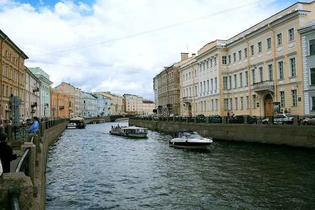 Embankment and pavement in st. petersburg