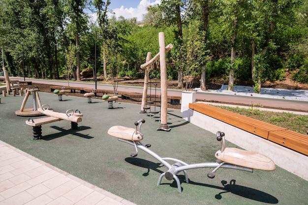 Embankment of the urals plot city promenade with a playground