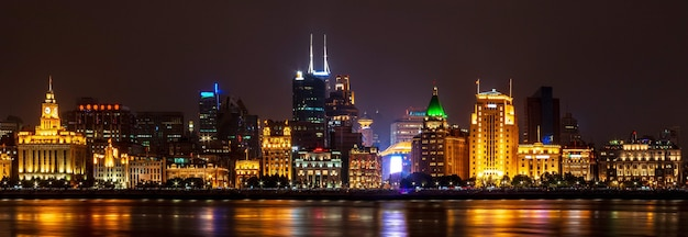 The embankment of the vaitan. panoramic view from pudong is modern district of shanghai