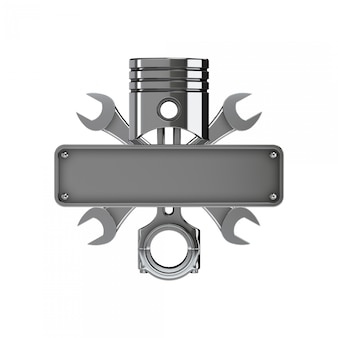 Emblem created with piston, keys and license plate. chrome version.