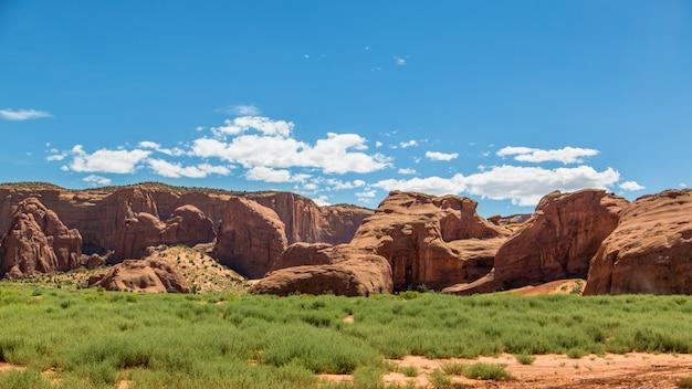 細かい赤い砂のあるモニュメントバレーの砂漠である象徴的な場所