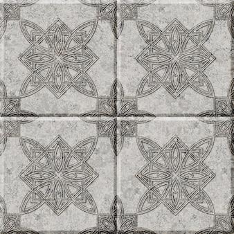 패턴이있는 양각 장식 석재 타일. 인테리어 디자인 요소. 배경 질감