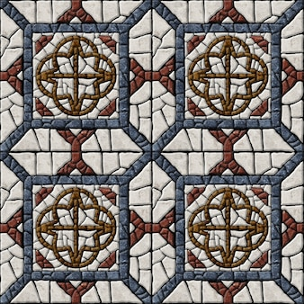 Embossed tiles made of natural stone. marble mosaic. background texture