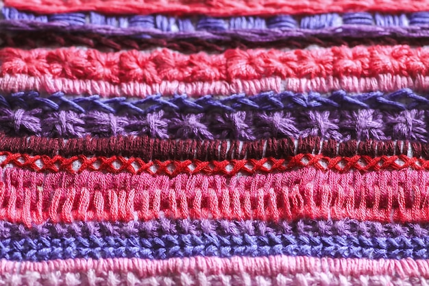 Embroidery on canvas close up.