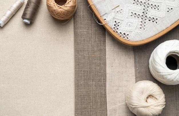 Embroidery fragment. yarn, fabric.