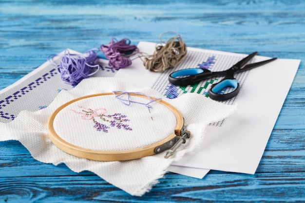 Embroidery workplace with handmade ornament