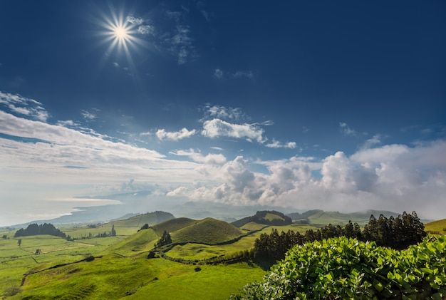 Emerald green hills of island san miguel. azores. portugal
