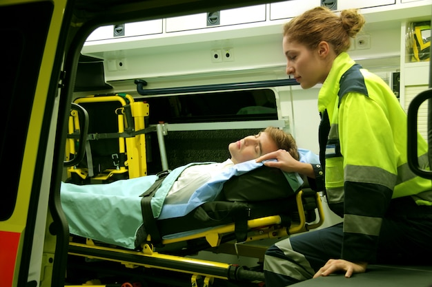 Emergency equipment in ambulance interior