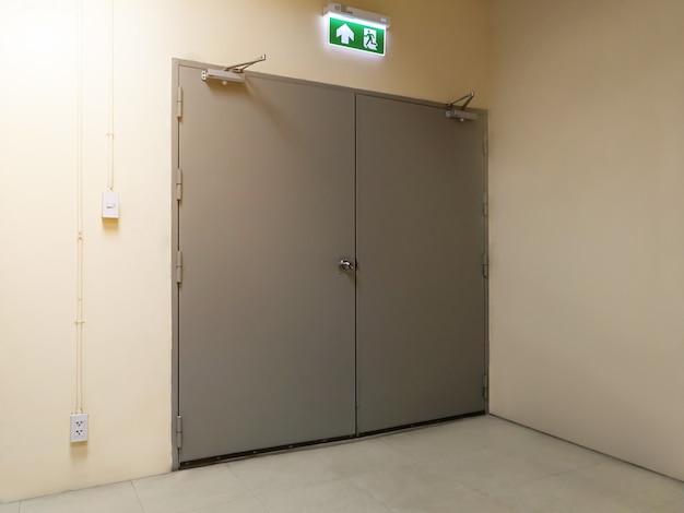 Emergency exit door on building