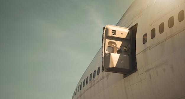 Emergency exit door on the plane