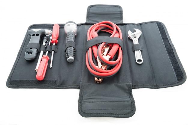 Emergency kit , car jack, jumper cables for car