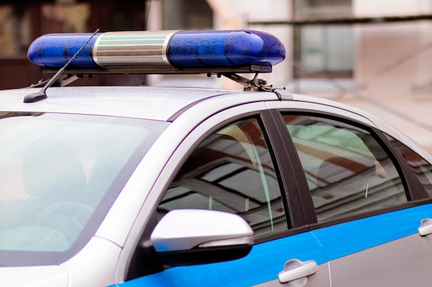 Emergency lights on a police car