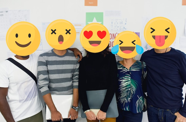 Emoji faced students
