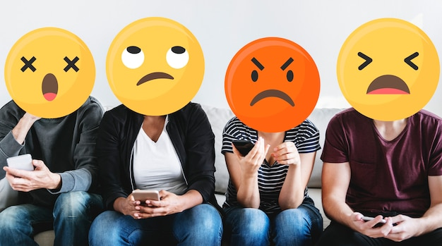 Emoji faces on social media
