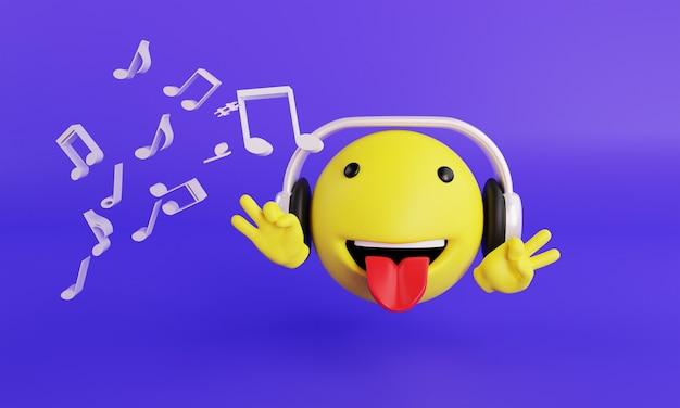 Emoji с наушниками и музыкой 3d-рендеринга на фиолетовом фоне