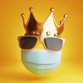 Emoji with a medical mask, sunglass and a royal crown 3d
