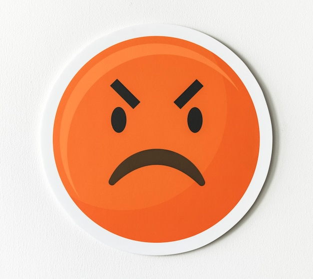 Emoticon emoji icona faccia arrabbiata