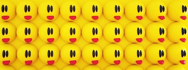 노란색 배경, 3d 렌더링, 파노라마 이미지 위에 혀가있는 이모티콘