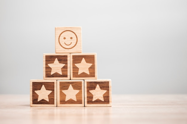 Emotion face and star symbol blocks