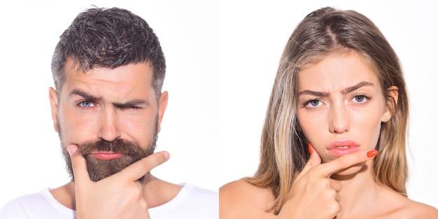 심각한 남자와 여자 감정의 콜라주 감정의 감정 세트 여자와 남자의 감정 콜라주