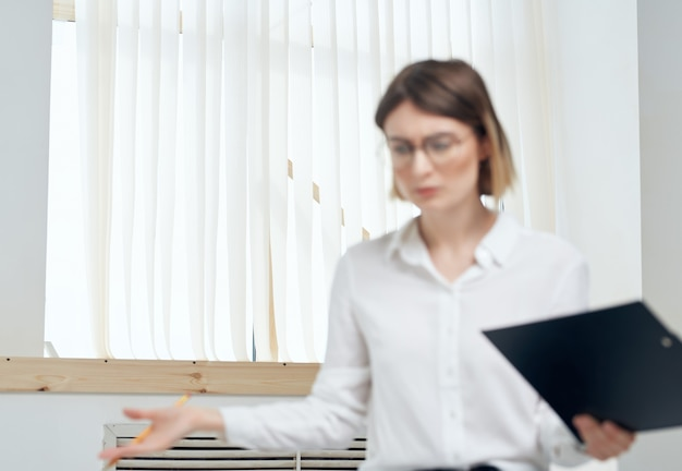 Emotional business woman in white shirt secretary office professional