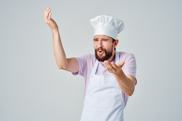 Emotional chef gesturing with hands gourmet professional cooking