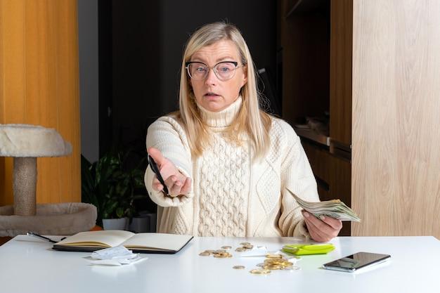 Эмоциональная женщина-фрилансер, рассчитывающая бюджет в домашнем офисе, доходы и расходы, концепция работы из дома