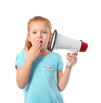 Emotional little girl with megaphone on white