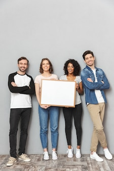 Emotional loving couples friends holding copyspace blank.