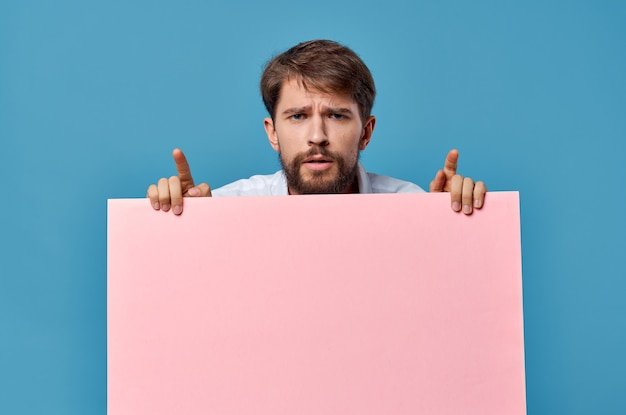 Emotional male pink mockup poster copy space advertising blue.