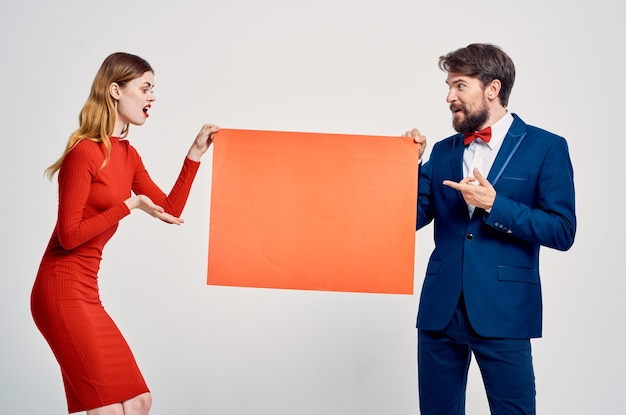 Emotional man and woman red mocap poster advertising copy space