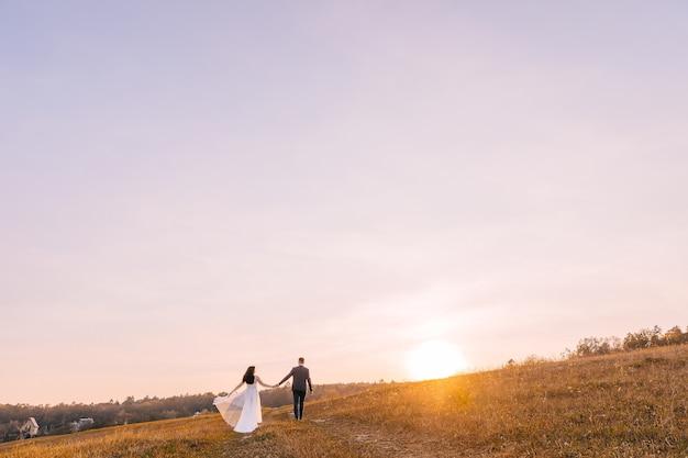 感情的な新婚夫婦が手をつないで夕日を背景に牧草地を歩いています
