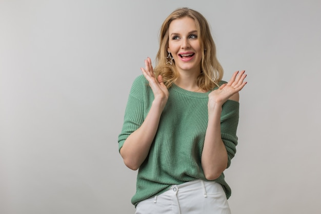 Emotional portrait of surprised young attractive woman with shocked expression of face, big eyes, open mouth, holding hands up, funny emotion, crazy, nisolated, looking in camera