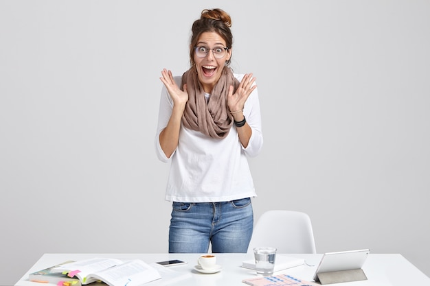 Emotional woman scientist prepares scientific report