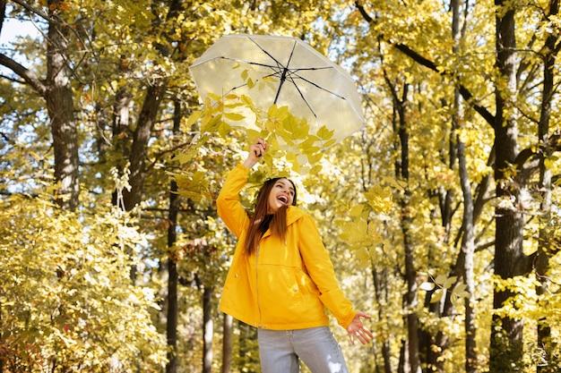 紅葉を背景に傘と黄色の葉を持つ感情的な女性