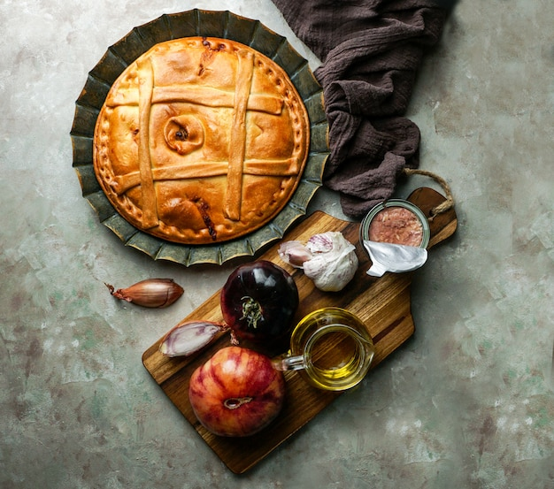 Empanada de atun gallega is a type of baked or fried turnover consisting of pastry and filling, common in latin america and spain, galicia