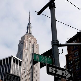 Empire state building and street signs in manhattan, new york city, u.s.a.