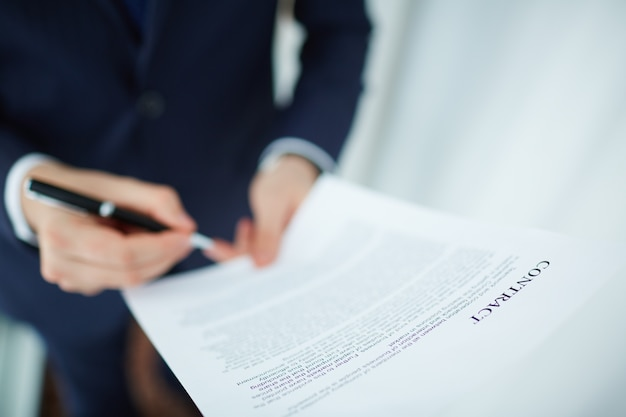 Employee holding a contract