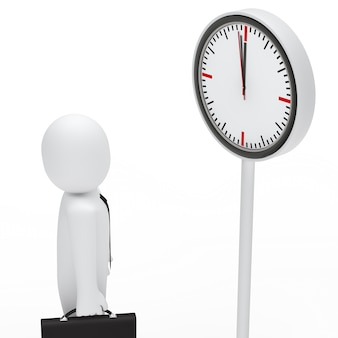 Employee looking at a white clock