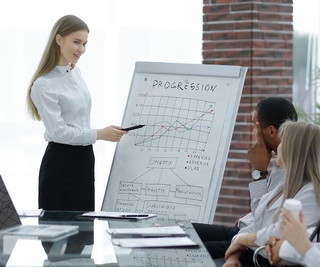 Сотрудник делает отчет о достижениях компании.