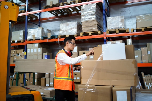 Employee takes an inventory of goods