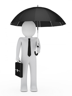 Employee with briefcase and umbrella