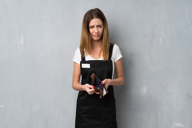 Employee woman holding a wallet